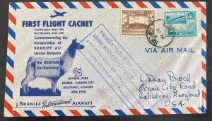 1948 Lima Peru First flight Airmail Cover FFC To Chicago IL Usa Braniff Air