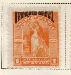 Nicaragua 1894 Early Issue Fine Mint Hinged 1c. Official Optd 323727