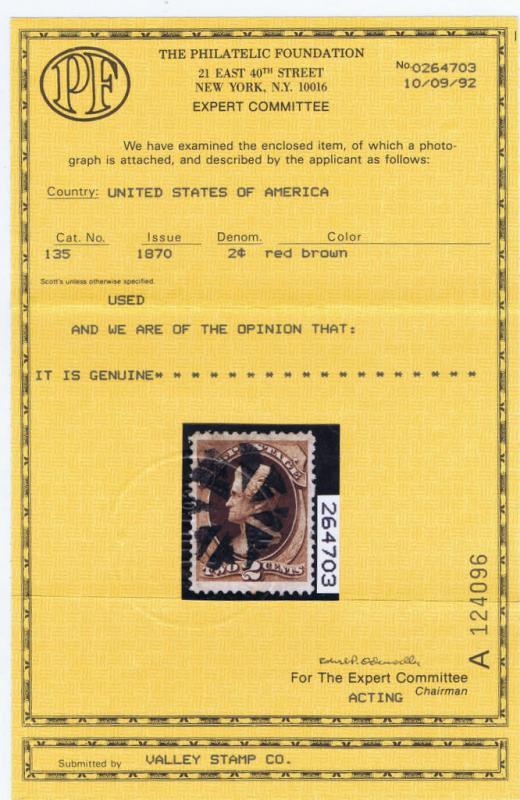 SCOTT# 135 USED 2 CENT JACKSON FANCY CANCEL TRIANGLES 1870, PF CERT.
