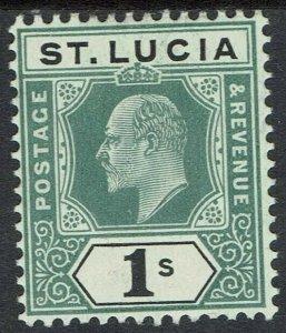 ST LUCIA 1904 KEVII 1/- WMK MULTI CROWN CA
