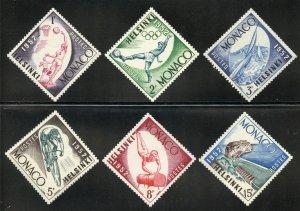 Monaco Scott 295-300 MVFNHOG - 1952 Helsinki Olympics - SCV $5.15