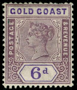GOLD COAST SG30, 6d dull mauve & violet, LH MINT. Cat £14.
