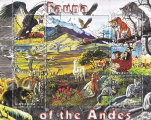 Kyrgyzstan 2004 Fauna of the Andes miniature sheet CTO