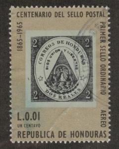 Honduras  Scott C387 Used stamp on stamp airmail