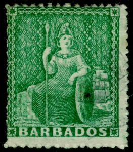 BARBADOS SG21a, ½d Blue-Green, USED. Cat £75.