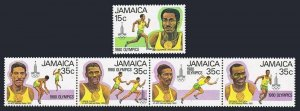 Jamaica 489,490 strip,MNH.Michel 487-491. Olympics,Moscow-1980.Runners.