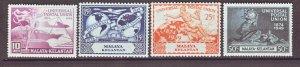 J22364 Jlstamps 1949 malaya-kelantan set mh #46-9 upu