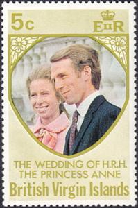 Virgin Islands # 260 hinged ~ 5¢ Princess Anne Wedding