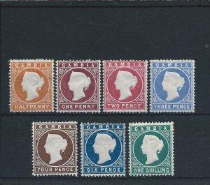 GAMBIA 1880-81 CROWN CC UPRIGHT SET OF SEVEN MM SG 10B/20B CAT £800