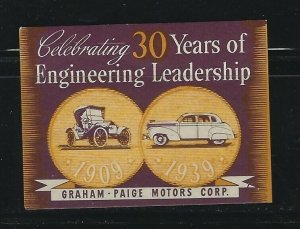 UNITED STATES - GRAHAM-PAIGE MOTORS CORP POSTER STAMP MNH CELEBRATING 30 YEARS