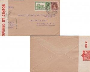 India 3a KGVI Dak Tonga and 1/2a KGVI 1940 Munnar-Travancore to New York, N.Y...