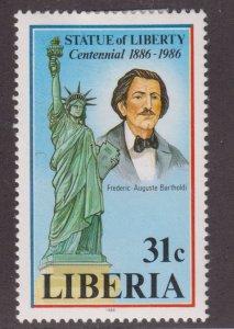 Liberia 1047 Statue of Liberty, Cent 1986