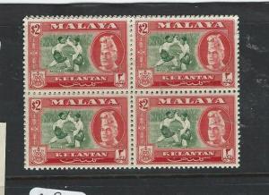 MALAYA KELANTAN (P0803B) SULTAN $2.00  SG93 BL OF 4  MNH