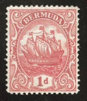 BERMUDA Scott 83  MH* Caravel tall ship type III wmk 4 1928