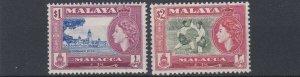 MALACCA  1952 - 56  S G 47 - 48  $1  + $2  VALUES  MNH