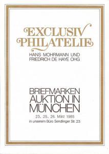 Exclusiv:    Exclusiv Philatelie, Mohrmann und DeHaye Mar...