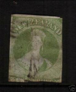 NEW ZEALAND FFQ 1855 1/-  GREEN ON BLUE PAPER FU SG6 CHALON