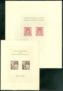 EDW1949SELL : CHILE 1958 Sc #C194, C195 Special Souvenir Sheets. VF MNH Cat $245