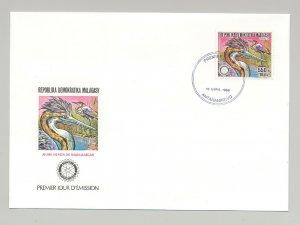 Malagasy 1988 Rotary, Birds 1v Perf & 1v Imperf on 2 FDC