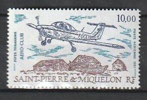 1991 St. Pierre and Miquelon - Sc C67 - MNH VF - 1 single - Piper Tomahawk