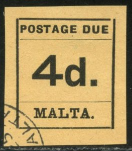 MALTA Sc#J7 SGD7 1925 4p Type-Set Postage Due Stamp Used