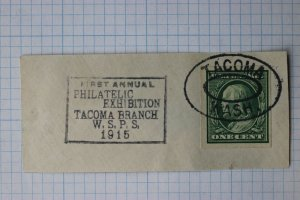 US Philatelic Expo show First Tacoma Branch WSPS 1915 #343 or 383 imperf piece