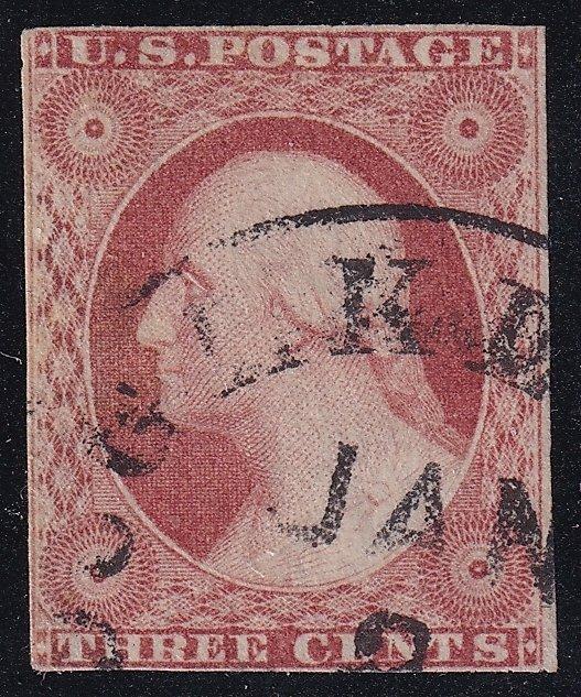 US STAMP #11 – 1855 3c George Washington, dull red, type I, imperf used