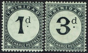 TRINIDAD 1905 POSTAGE DUE 1D AND 3D WMK MULTI CROWN CA