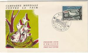 Monaco 1963 Global Campaign against Hunger Baby Birds FDC Stamps Cover Ref 23841