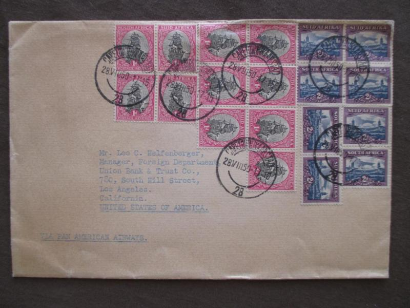 1950 South Africa To USA Via Pan American Air Cover - 19 Stamps! (VV39)