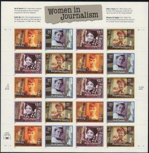 US Scott 3668a Full Sheet Women in Journalism! MNH!