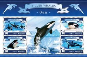 MALDIVES 2015 SHEET WHALES ORCAS MARINE LIFE mld15703a