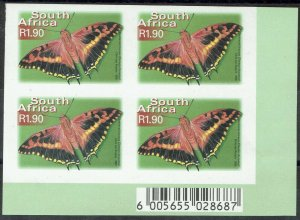 SOUTH AFRICA 2000 BUTTERFLY R1.90 IMPERF BLOCK MNH **