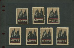 7 VINTAGE 1931 FRANCE RIORE EXPOSITION METZ SEPT26-OCT 12  POSTER STAMPS (L1163)