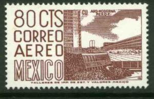 MEXICO C265 80c 1950 Def 8th Issue Fosforescent glazed MINT, NH. VF.