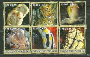 Mozambique MNH Set Of 6 Sea Slugs Marine Life 2002