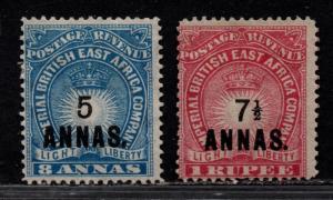 $British East Africa Sc#36-37 M/H/F, complete set, Cv. $170