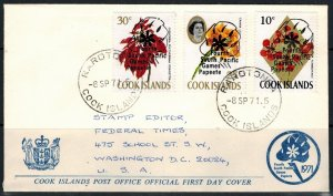 Cook Islands 1971 Fourth South Pacific Games Overprints on Used First Day Cover