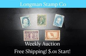Longman Stamp Co FREE SHIPPING, $.01 Start
