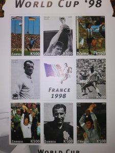 ZAMBIA WORLD CUP WINNERS FRANCE 1998 SHEET