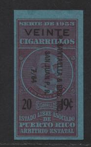 $US/Puerto Rico 1953 Cigarette Revenue 20 @ 19c