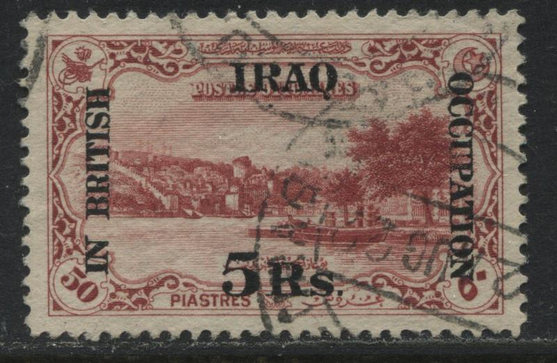 Mesopotamia overprinted 1918 5 rupees on 50 piastres used