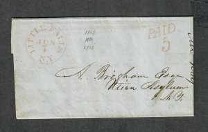 Stampless Cover Little Falls NY Jun 7 1847 Content