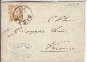 1871, Hungary: Folded Letter W/Danube River Ship Handstamp (24391)