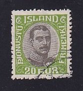 Iceland    #O45   used   1920  Christian X   20a   centre in grey-black