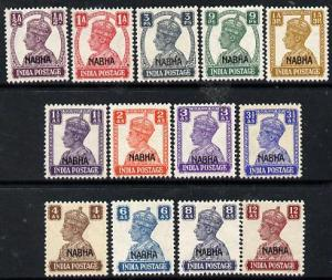 Indian States - Nabha 1941-45 KG6 opt\'d set of 13 comple...