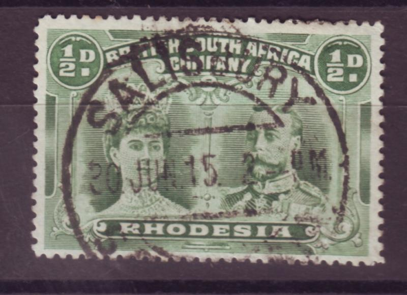 J17080 JLstamps 1910 rhodesia used #101b perf 15 king and queen