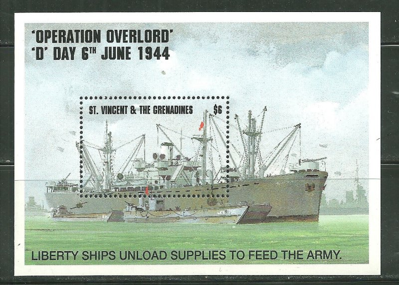 St. Vincent MNH S/S 2086 D-Day Liberty Ship SCV 5.25