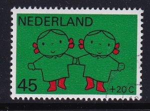 Netherlands  #B456  cancelled 1969  child welfare 45c  children dancing