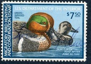 #RW46 – 1979 $7.50 Green-Winged Teal. Used.